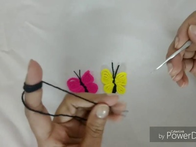Making of a butterfly with crochet hook- Crochet Motif #2 by Sapna Crafts