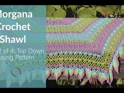 Morgana Crochet Shawl Part 2 Top Down Hexagon 4 row repeat shawl