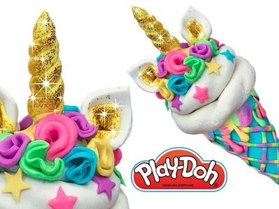 Play Doh Ice Cream . How to Make Golden Unicorn Ice Cream. Creative Fun for Beginners and Kids