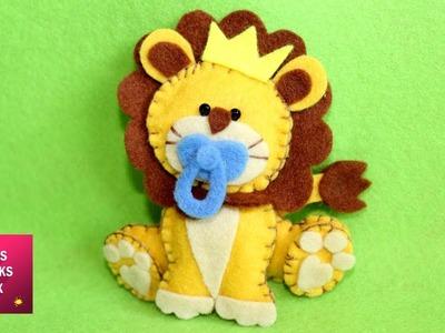 Pretty Felt Lion - DIY : How to make a pretty felt lion. Kids Crafts -  Felt Crafts