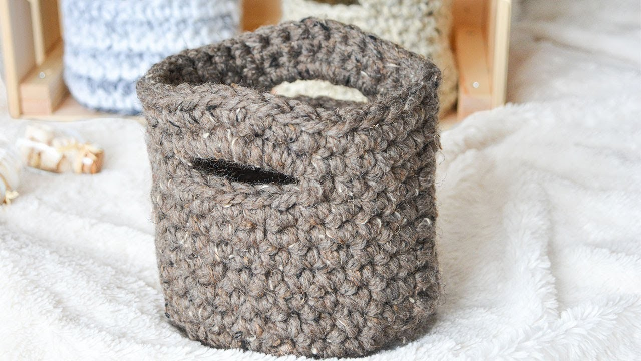 BULKY CROCHET BASKET WITH HANDLES | CJ Design ♡