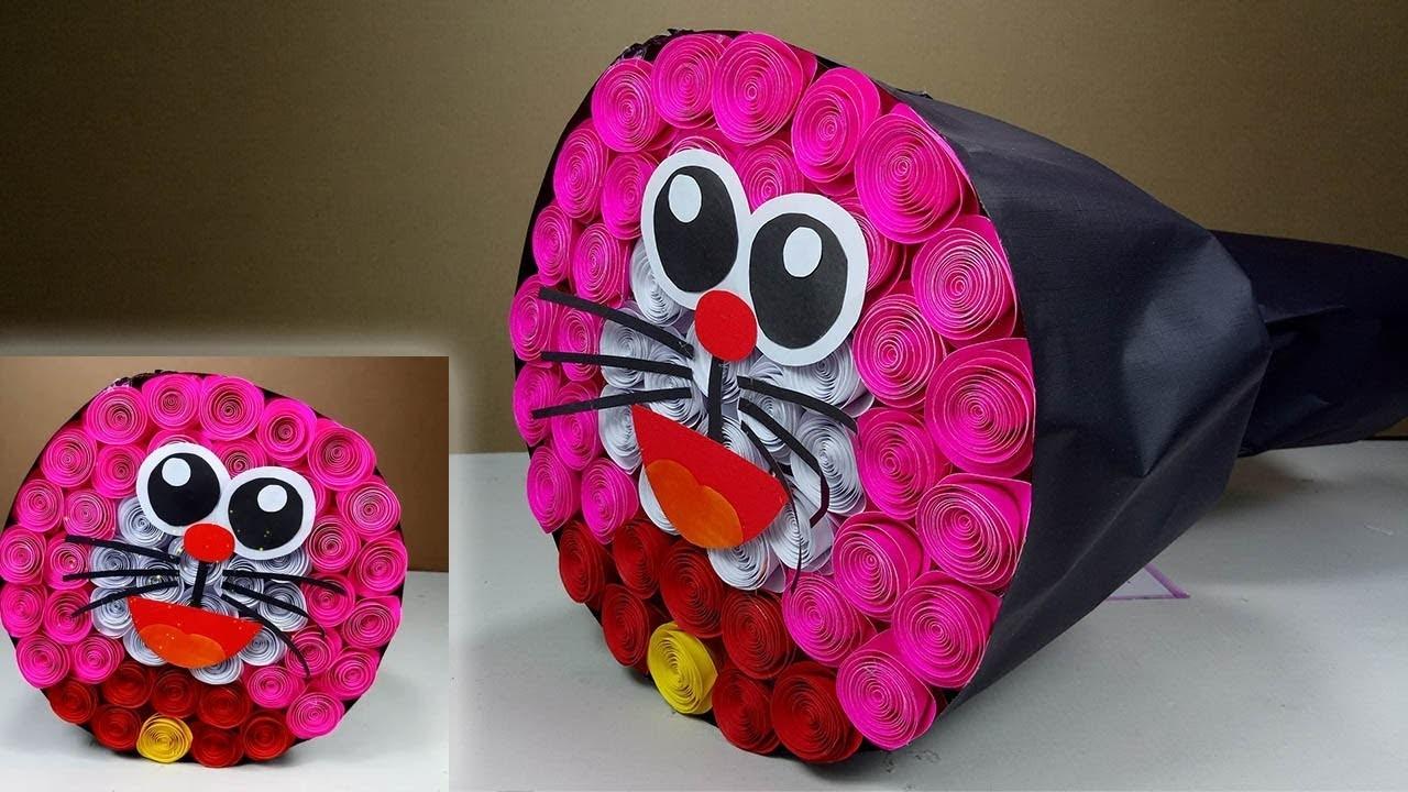 Diy flower bouquet - How to make Paper flower bouquet (Doremon)   DBB