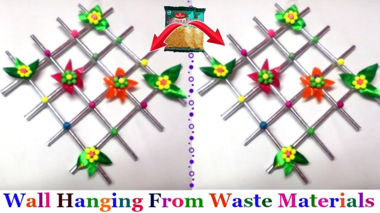 Diy How To Make Easy Wall Hanging With Waste Material Wall Hanging