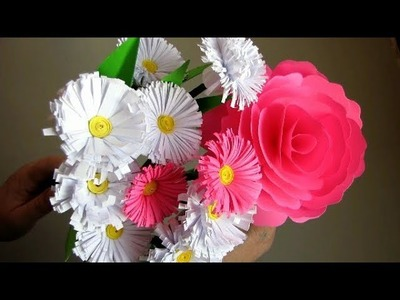DIY. How to Make Realistic Paper Rose. Flower Bouquet. Paper Crafts. Handmade Craft. Mother's Day