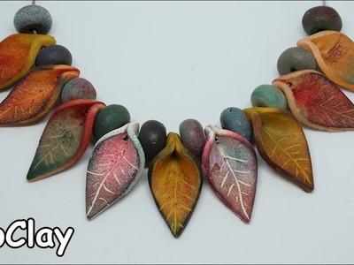 DIY leaf necklace - Inks stamps on Polymer clay