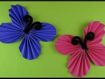 DIY   Papier Wanddeko Schmetterlinge   Paper folded butterfly   Easy wall decoration