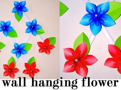DIY wall hanging flowers | Best color paper wall hanging room decor idea |