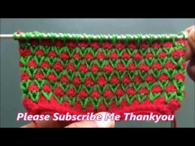 Easy Knitting Pattern Two Color- flower bouquet इजी बुनाई दो र॑गो मे॑