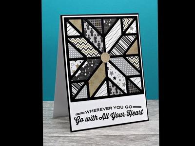 Graduation quilt card using paper scraps