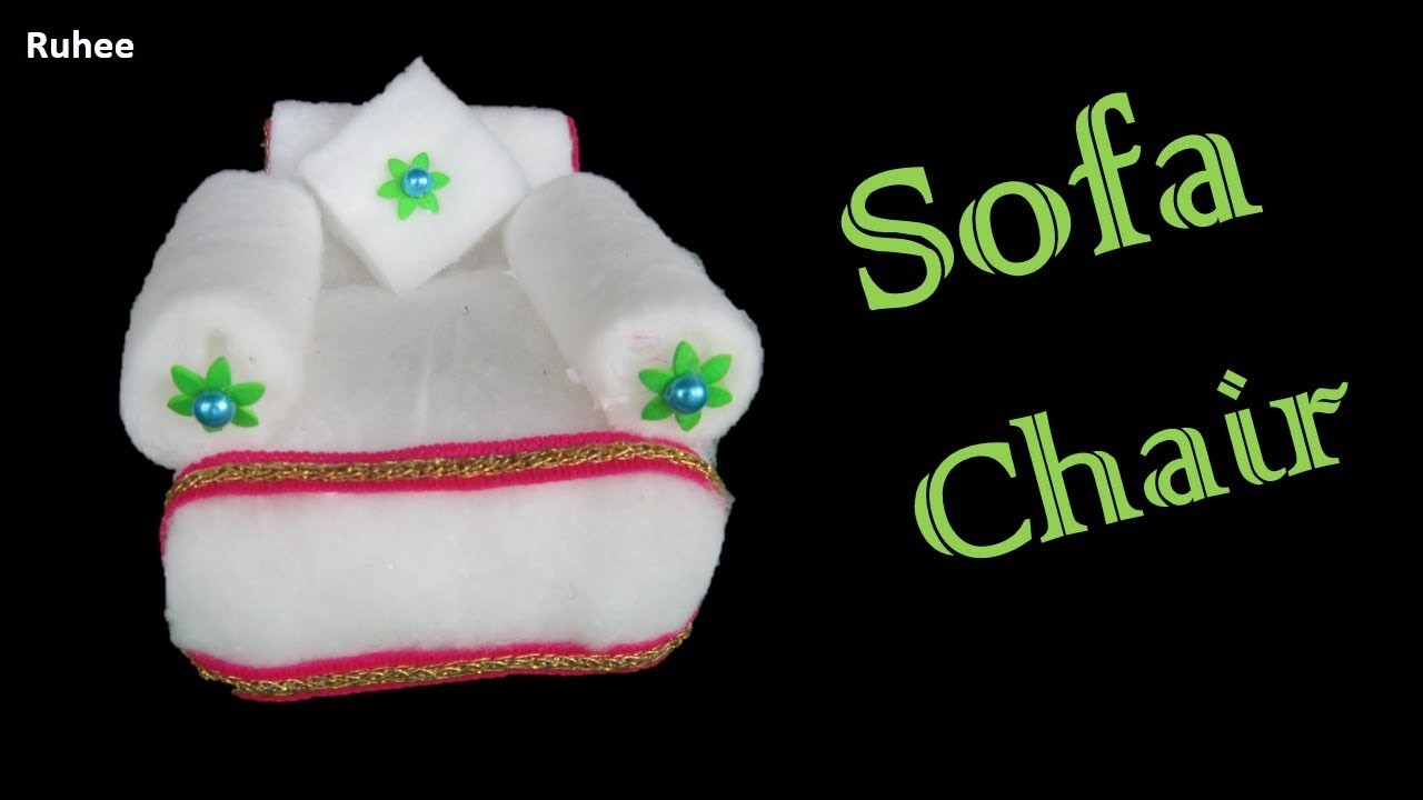 HM Make sofa chair with cotton and sweets box* How to make cotton sofa