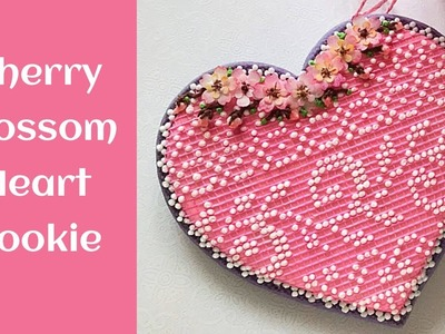 How to decorate Cherry Blossom Lace Heart Cookie.