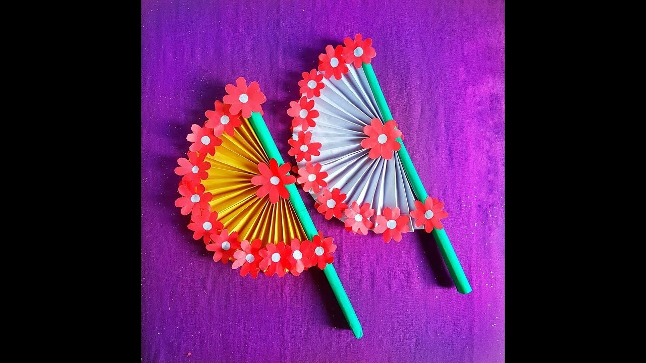 How to make A beautiful ???? paper hand fan ???? very easy.  ????
