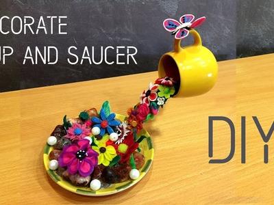 How To Make Beautiful Decoration Piece With Cup and Saucer | DIY | Clay Art | Apna Craft