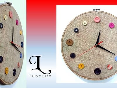 How to make beautiful wall clock at home by wasted button, fabric | DIY | craft idea | TubeLife
