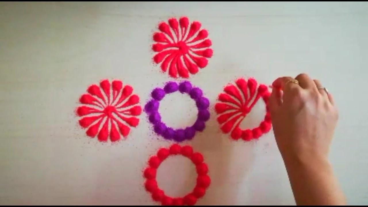 How To Make Flower Rangoli Design Beautiful Flower Rangoli Design