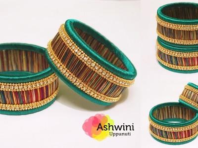 How To Make Multi Colour Silk Thread Bangles At Home   DIY   Kada bangles   uppunutiashwini