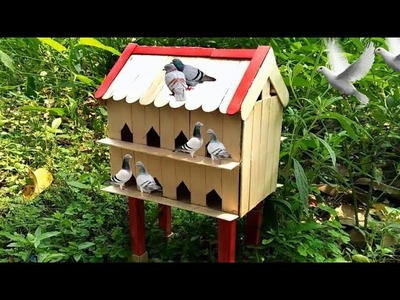 How to Make Popsicle stick House for Pigeon - Beautiful Bird House
