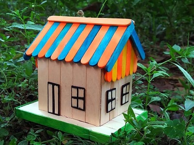 How to make Popsicle Stick Mini House  - Colour House for Children