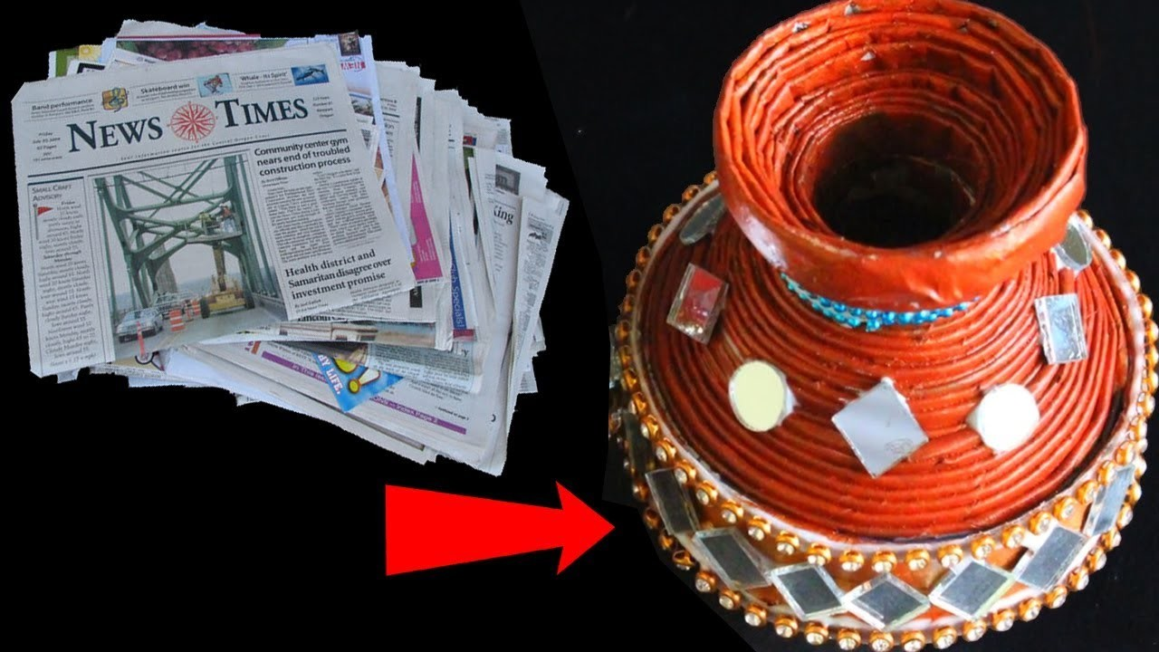 How to make relastic pot with waste paper diy best out for Making craft out of waste