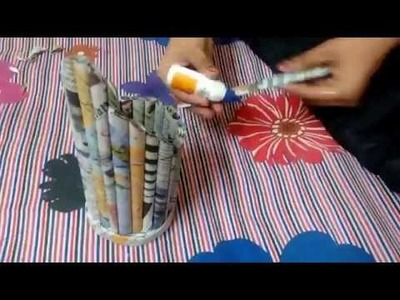 How to make the pen pencil box with the use of newspaper