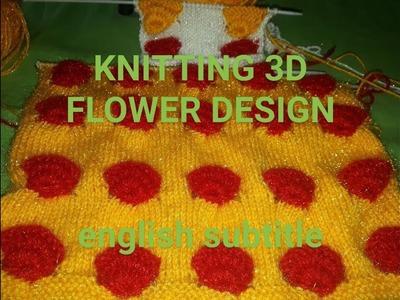 KNITTING 3D FLOWER DESIGN(ENGLISH SUBTITLE)BEAUTIFUL DESIGN