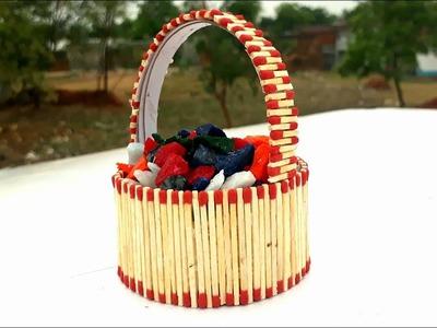 Matchstick art | how to make matchstick busket | how to reuse matchstick | matchstick busket making.