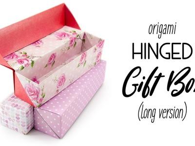 Origami Long Hinged Gift Box Tutorial - Paper Kawaii