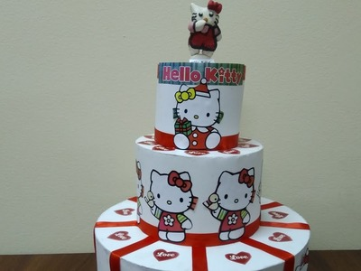 Paper Cake Making For Birthday Decoration.How to make Hello kitty paper cake .DIY Paper cake making
