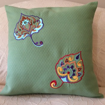 Pillow Cover/Throw Pillow Cover -  Green with Multi Color Embroidered Leaves - Handmade