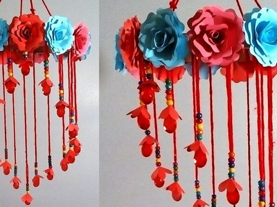 Wind chimes - Make wind chime out of color paper - DIY Simple Home Decor - Handmade paper wind chime