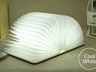 2018 Trending products tyvek paper folding led book lamp with wooden cover