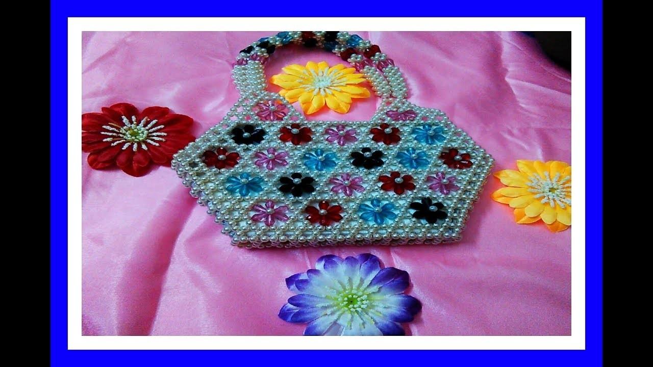 DIY:Beaded purse design.Crystal beaded hand purse design.PINKI'S ART HOUSE