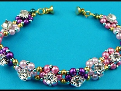 DIY | Blumen Perlen Armband | Beaded flower pearl bracelet with rhinestones | Beadwork jewelry