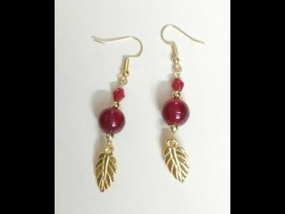 DIY Charm Earrings, How to make Bead earrings in less than 2 minutes, Beautiful Glass Bead Earrings
