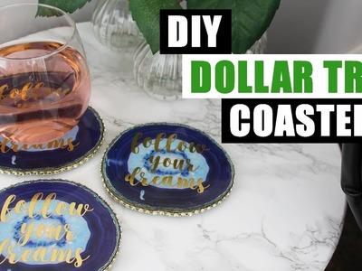 DIY DOLLAR TREE FAUX AGATE COASTERS DIY Home Decor Drink Coasters