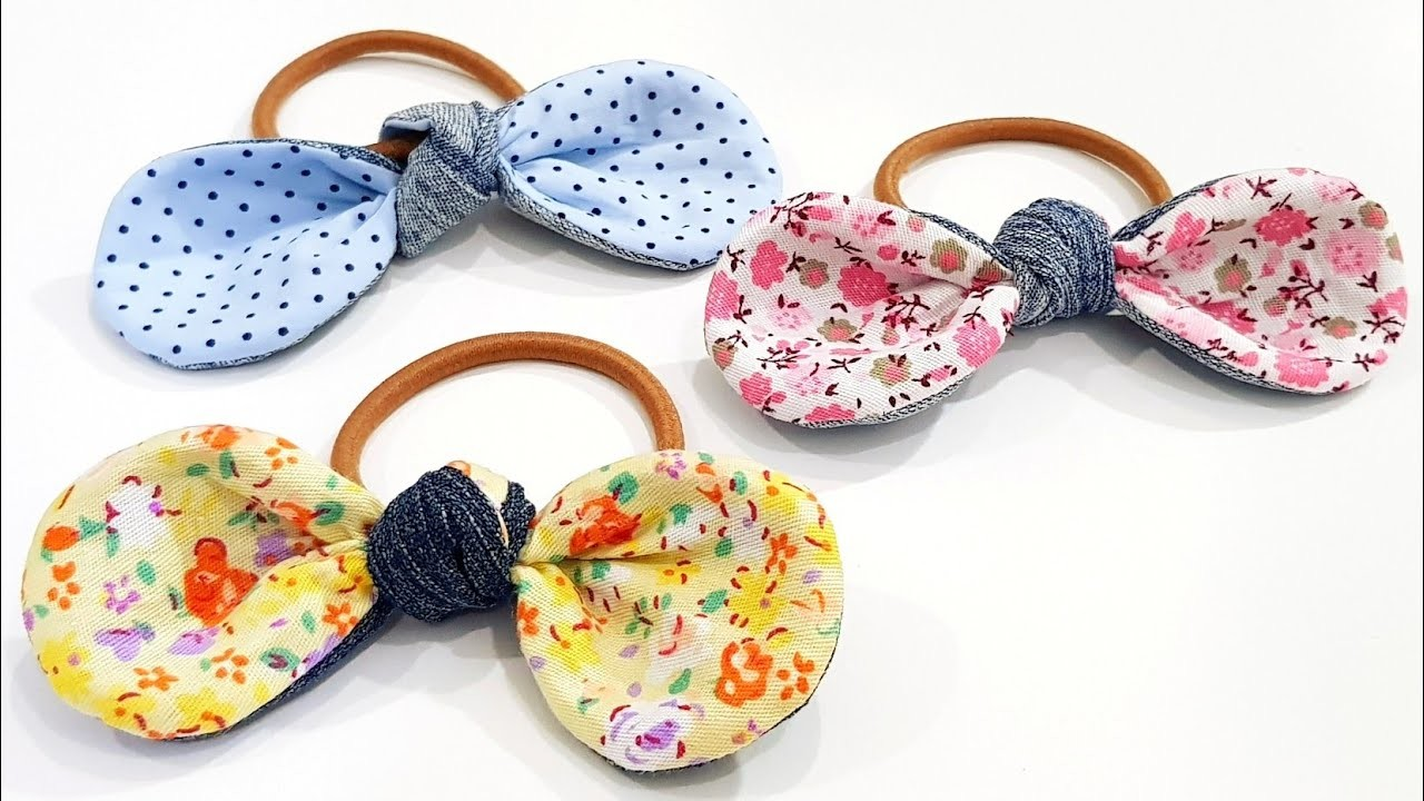 Diy from old jeans   Diy denim hair bow   Super easy sewing project❤❤