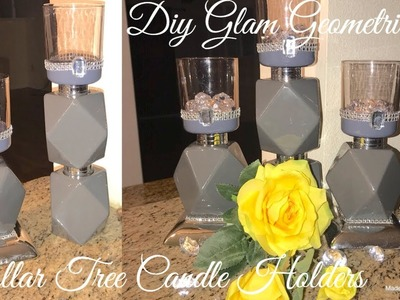 Diy Glam Geometric Candle Holders | Dollar Tree Diy | Elegant Room Decor