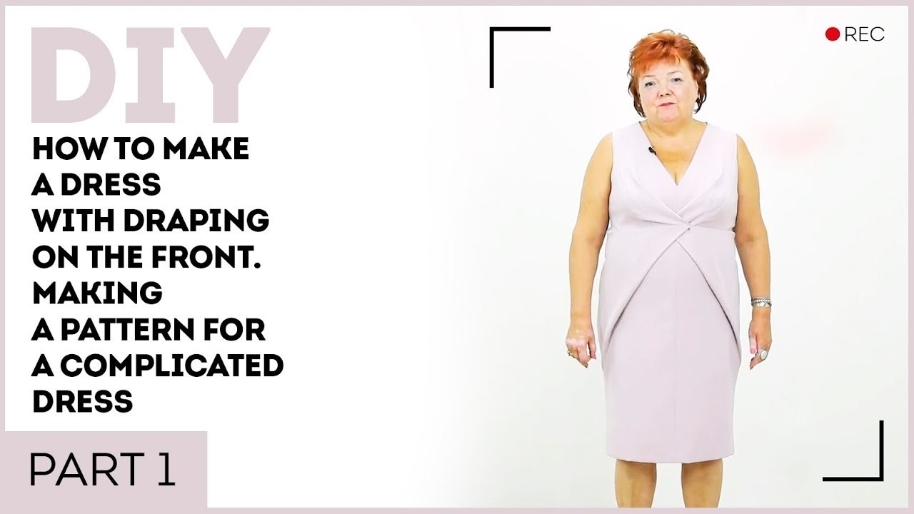 DIY: How to make a dress with draping on the front. Making a pattern for a complicated dress.
