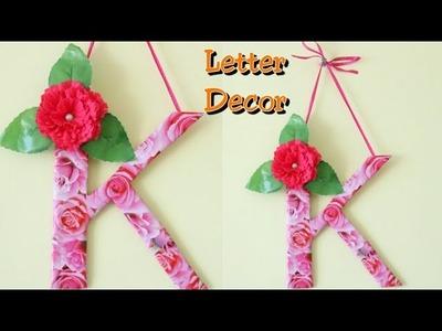 DIY Letter decor ideas.Room decor ideas with cardboard.K letter.Cardboard crafts.Best out of waste