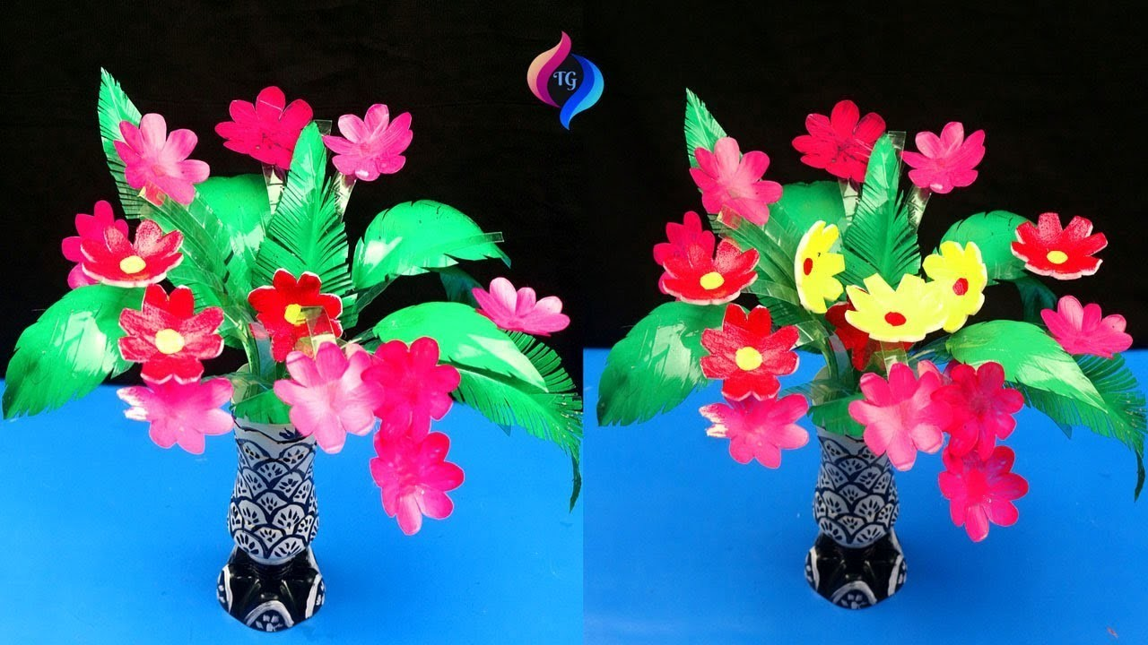 DIY Make Wonderful Tree with Flowers - Easy Best Out of Waste Recycled Craft Ideas for Home Decor