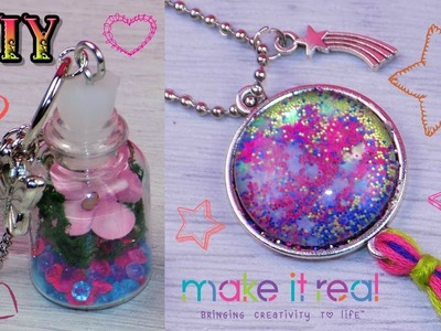 DIY Miniature Bottle Charm Terrarium Necklace and Starburst Glitter Necklace from Make It Real