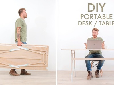 DIY Portable Foldable Desk From One Sheet of Plywood
