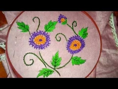 Hand embroidery braid stitch flower and long and short stitch leaves