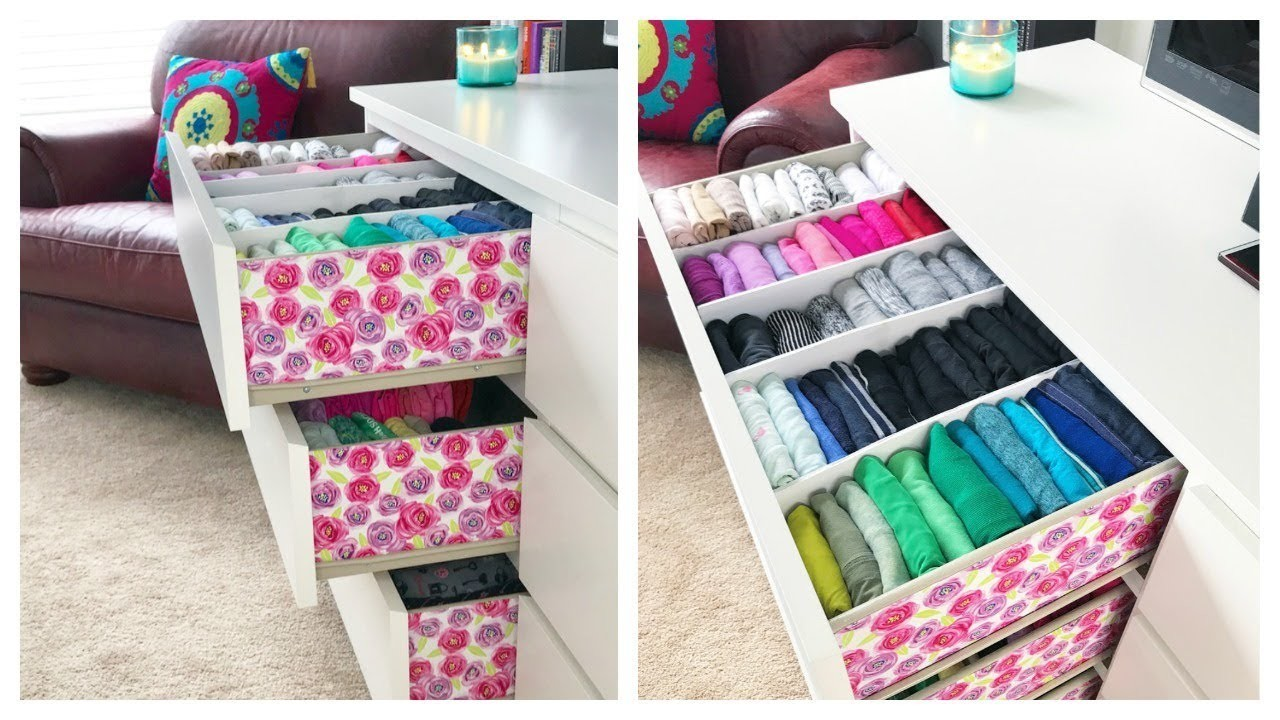 How I Organize & Embellish My Dresser. Konmari Drawer Organization & DIY Dividers