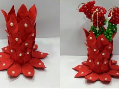 How to Make a Flower vase  - DIY - Flower Vase Making With Plastic Bottle and Foam Sheet
