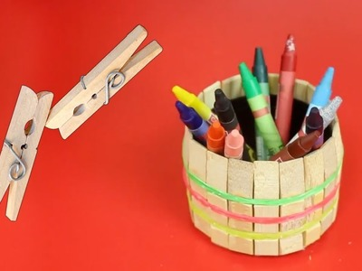 How To Make A Pen Holder with Wooden Clothespins || DIY Ideas || Ideas Factory