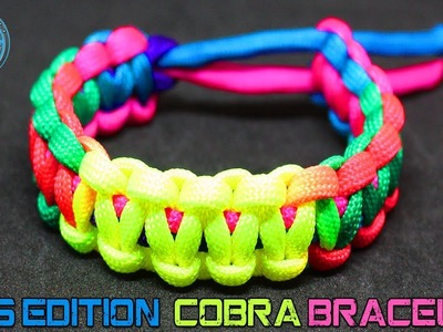 Kids Paracord How To Make Paracord Bracelet Cobra with Rainbow Colors Multicolor Cord DIY Tutorial