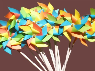 Origami rotating paper fan || Origami paper windmill || how to make  pinwheel for Bangla Noboborsho