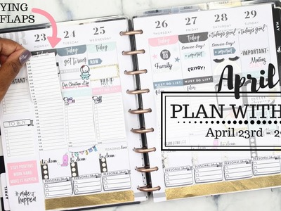 Plan With Me! Trying DIY FLAPS‼️ | April 23 - 29th | Classic Happy Planner | At Home With Quita