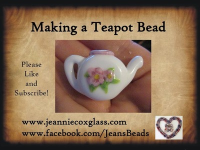 Teapot Lampwork Glass Bead by Jeannie Cox